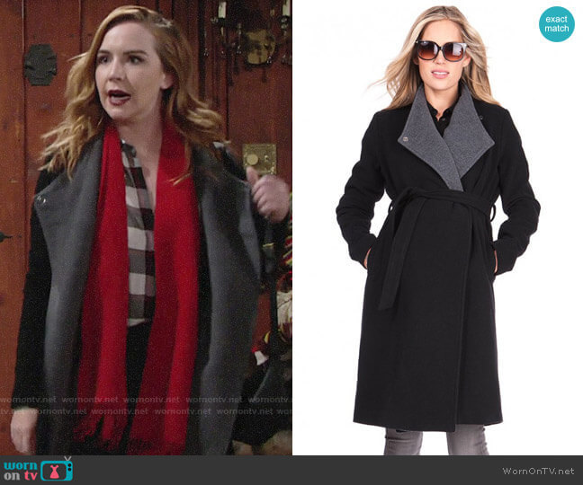 Seraphine Wool & Cashmere Black Maternity Coat worn by Mariah Copeland (Camryn Grimes) on The Young & the Restless