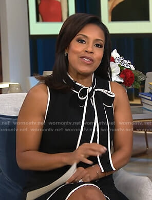 Sheinelle's black tie neck dress with white piping on Today