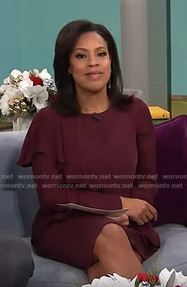 Sheinelle's burgundy ruffled dress on Today