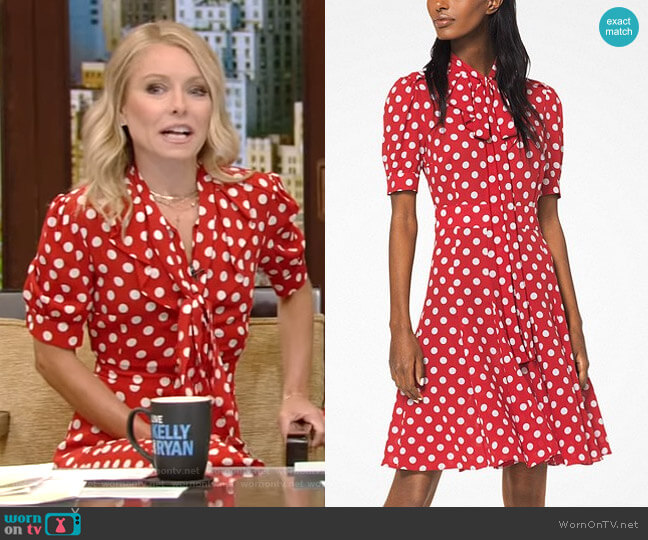 Silk Tie-Neck Polka Dot Dress by Michael Kors Collection worn by Kelly Ripa  on Live with Kelly & Ryan