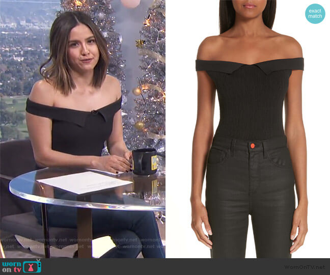 x Paramount Grease Ribbed Off the Shoulder Top by Simon Miller worn by Erin Lim  on E! News