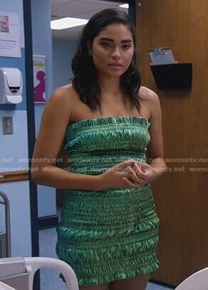 Simone's green smocked strapless dress on Star