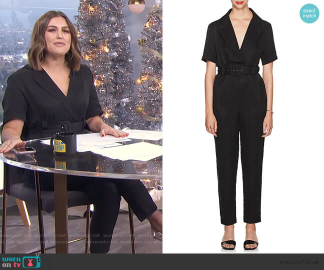Emmanuel Linen-Blend Belted Jumpsuit by Sir The Label worn by Carissa Loethen Culiner  on E! News