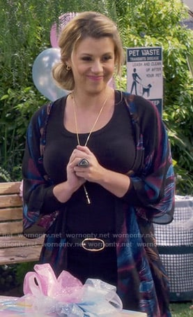 Stephanie's feather print kimono on Fuller House