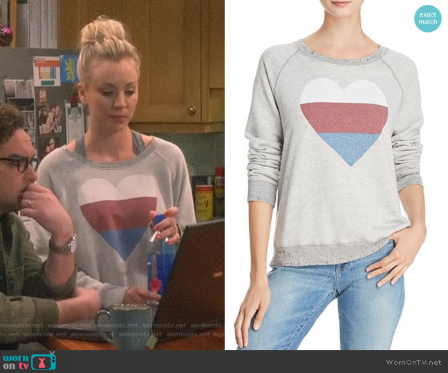 Heart Distressed Sweatshirt by Sundry worn by Penny Hofstadter (Kaley Cuoco) on The Big Bang Theory