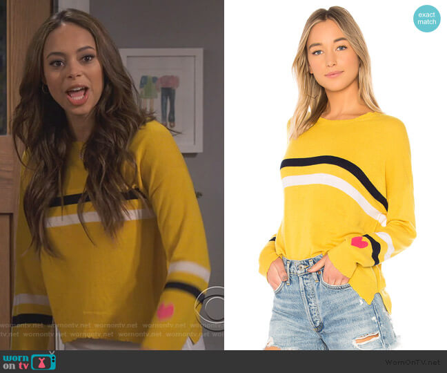 Stripes + Heart Cashmere Blend by Sundry worn by Amber Stevens West on Happy Together