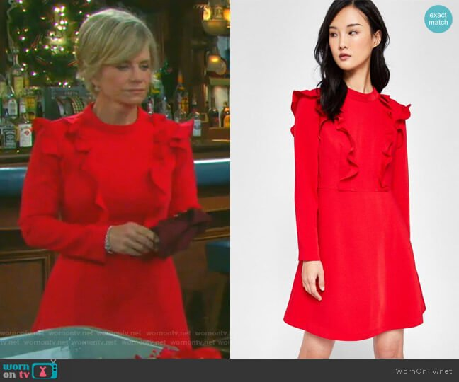 Long Sleeve Frill Tunic Dress by Ted Baker worn by Kayla Brady (Mary Beth Evans) on Days of our Lives