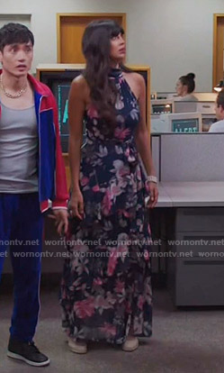 Tahani's navy floral maxi dress on The Good Place