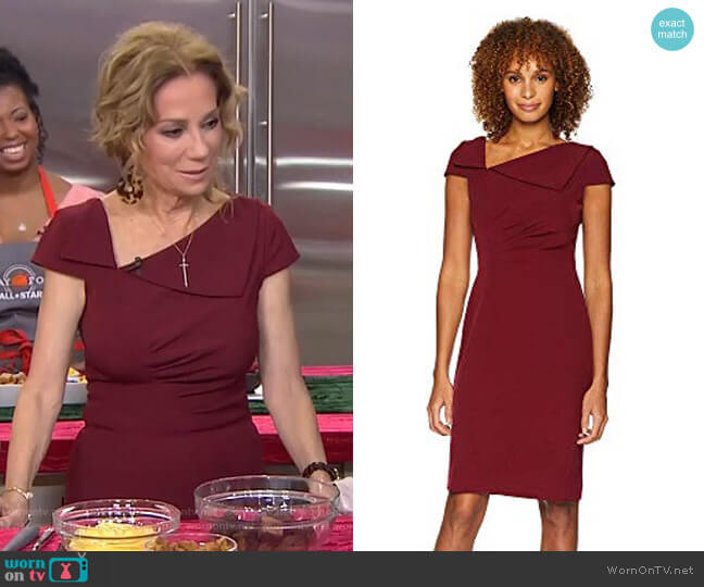 Fold-Over Collar Crepe Short Sleeve Crepe Dress by Tahari ASL worn by Kathie Lee Gifford  on Today