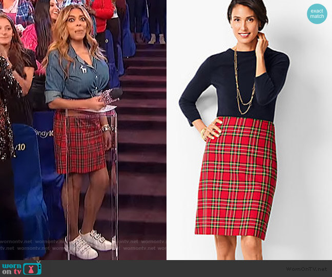 Tartan Plaid A-Line Skirt by Talbots worn by Wendy Williams (Wendy Williams) on The Wendy Williams Show