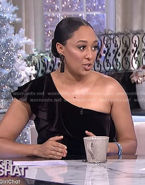 Tamera's black ruffled one shoulder top on The Real