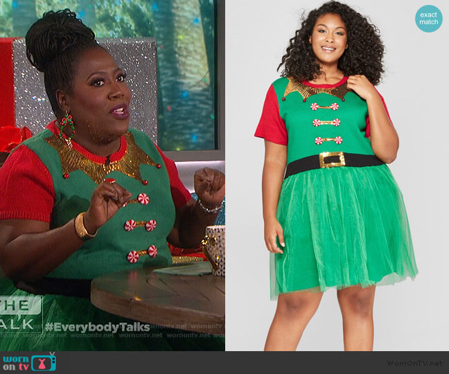 Elf Dress with Tulle by 33 Degrees at Target worn by Sheryl Underwood on The Talk