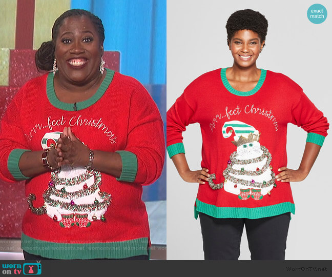 Purrfect Christmas Cat Ugly Sweater by Target worn by Sheryl Underwood  on The Talk
