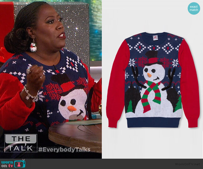 Ring Toss Snowman Ugly Christmas Sweater by Well Worn at Target worn by Sheryl Underwood (Sheryl Underwood) on The Talk