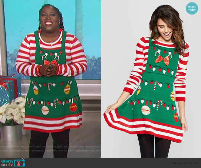 Ugly Christmas Candy Cane Striped Dress by Born Famous at Target worn by Sheryl Underwood  on The Talk