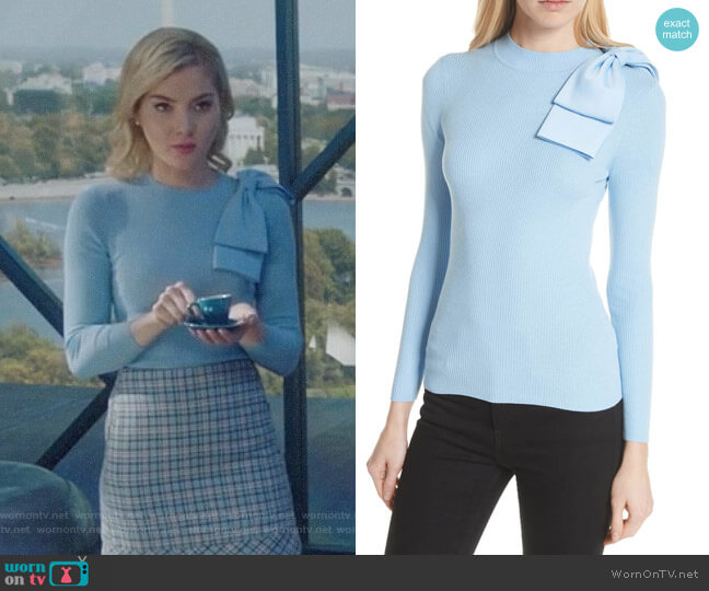 Nehru Sweater by Ted Baker worn by The Frost Sisters (Skyler Samuels) on The Gifted