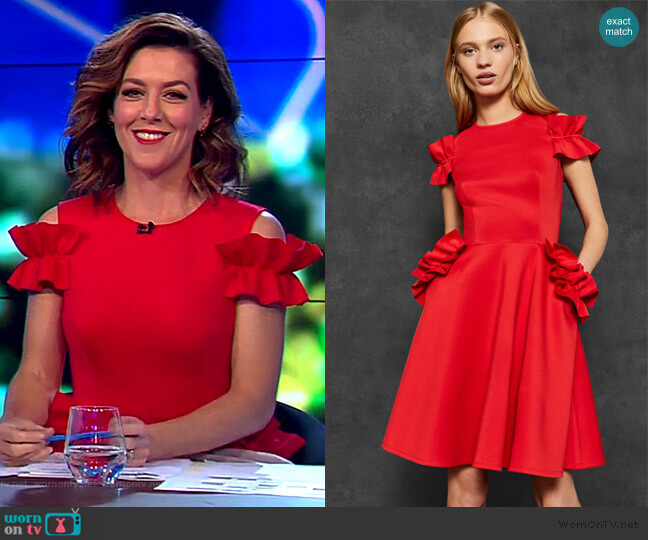 Deneese Dress by Ted Baker worn by Gorgi Coghlan  on The Project
