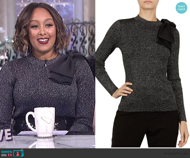 Lizziia Bow-Detail Metallic Sweater by Ted Baker worn by Tamera Mowry  on The Real