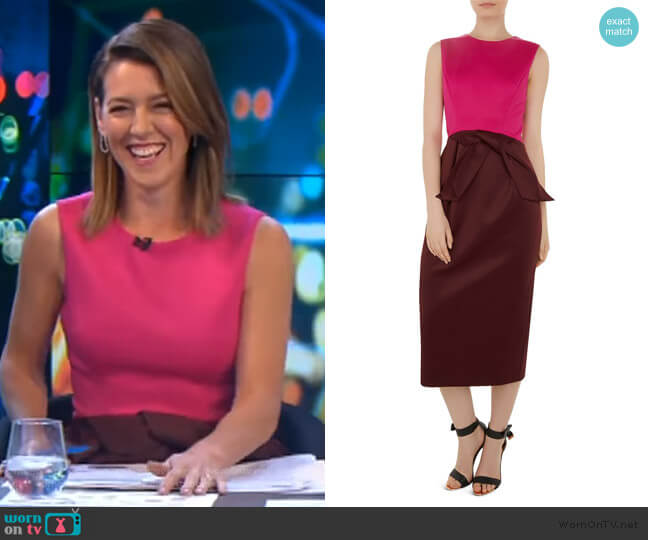 Nikkita Color-Block Midi Dress by Ted Baker worn by Gorgi Coghlan  on The Project