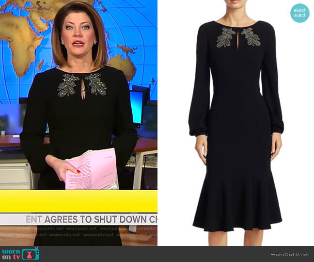 Embellished Long-Sleeve Dress by Teri Jon by Rickie Freeman worn by Norah O'Donnell  on CBS This Morning