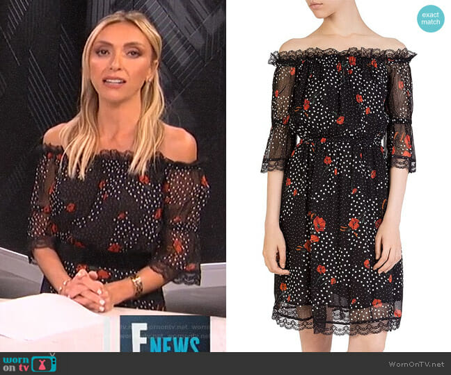 Popi Pop Off-the-Shoulder Floral-Print Dress by The Kooples worn by Giuliana Rancic  on E! News