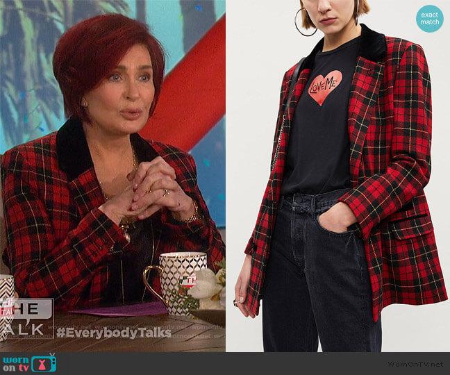 Tartan wool-blend jacket by The Kooples worn by Sharon Osbourne  on The Talk