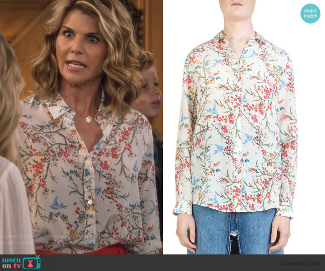 White Bird Avian & Floral-Print Silk Shirt by The Kooples  worn by Rebecca Katsopolis (Lori Loughlin) on Fuller House