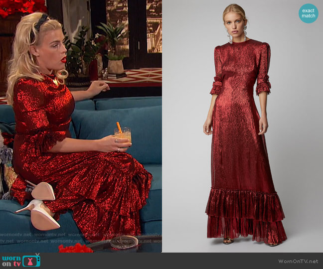 The Veneration Tiered Silk-Blend Gown by The Vampire's Wife worn by Busy Philipps  on Busy Tonight