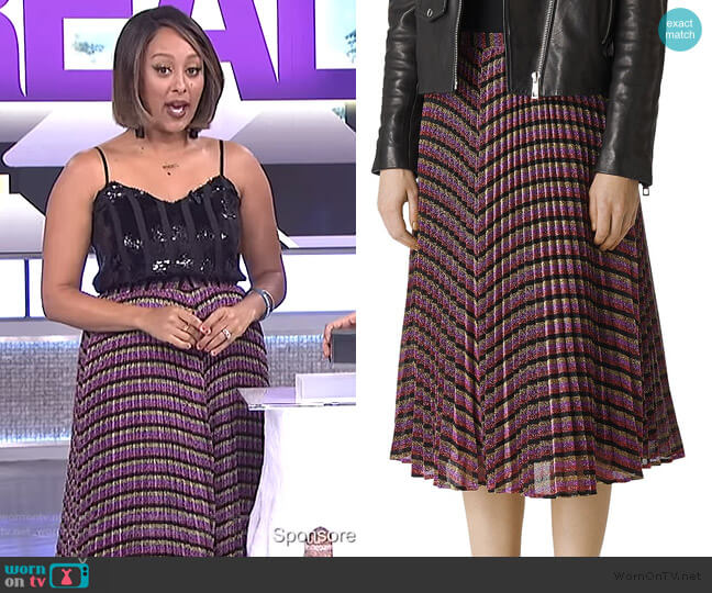Pleated Sparkle-Stripe Skirt by Whistles worn by Tamera Mowry on The Real