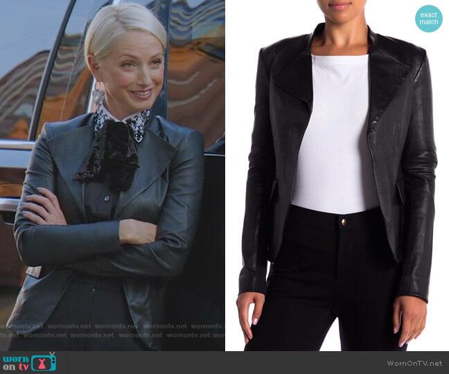Bristol Peplum Leather Jacket by Theory worn by Ada Stone (Katherine LaNasa) on Dynasty