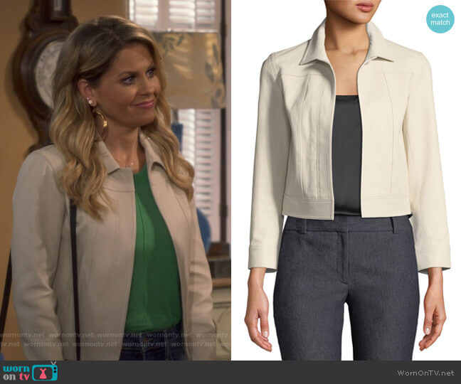 Shrunken Jacket by Theory worn by DJ Tanner-Fuller (Candace Cameron Bure) on Fuller House