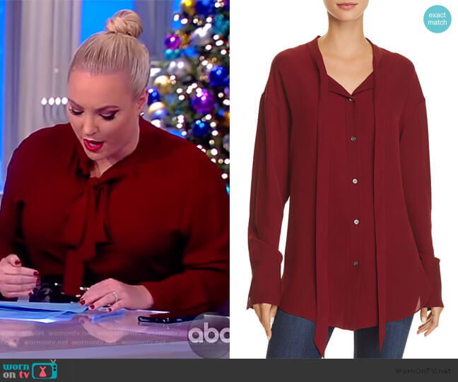 Weekender Tie-Neck Silk Shirt by Theory worn by Meghan McCain (Meghan McCain) on The View