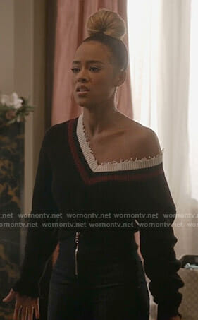 Tiana's black twisted front sweater on Empire
