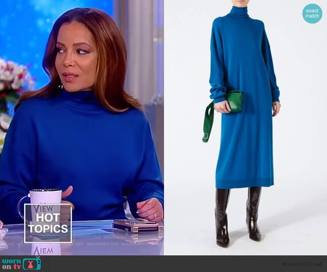 Merino Wool Tie Back Long Dress by Tibi worn by Sunny Hostin  on The View