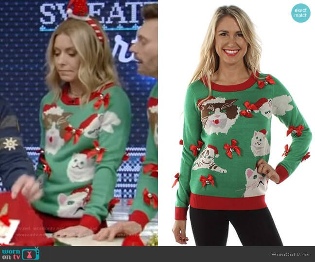 Crazy Cat Lady Sweater - Funny Cat Ugly Christmas Sweater by Tipsy Elves worn by Kelly Ripa  on Live with Kelly & Ryan