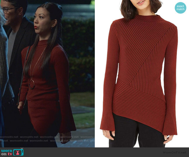 Asymmetrical Ribbed Sweater by Topshop worn by Tina Minoru (Brittany Ishibashi) on Marvels Runaways