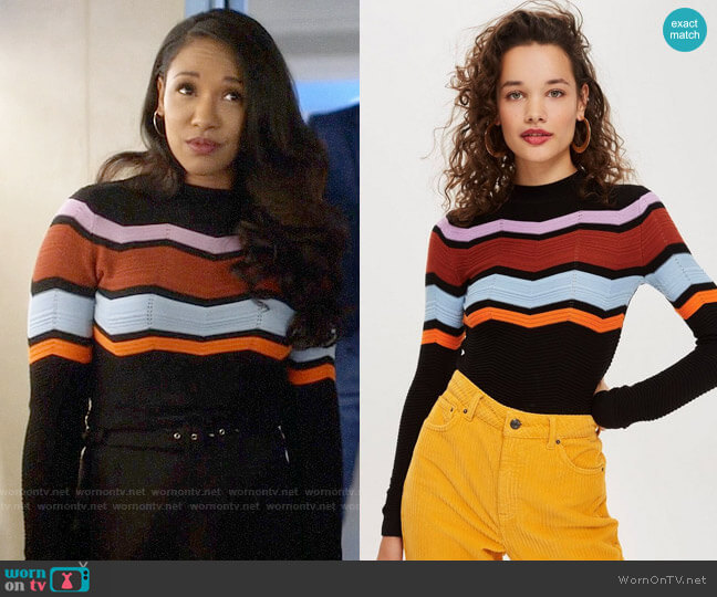 Topshop Chevron Insert Jumper  worn by Iris West (Candice Patton) on The Flash