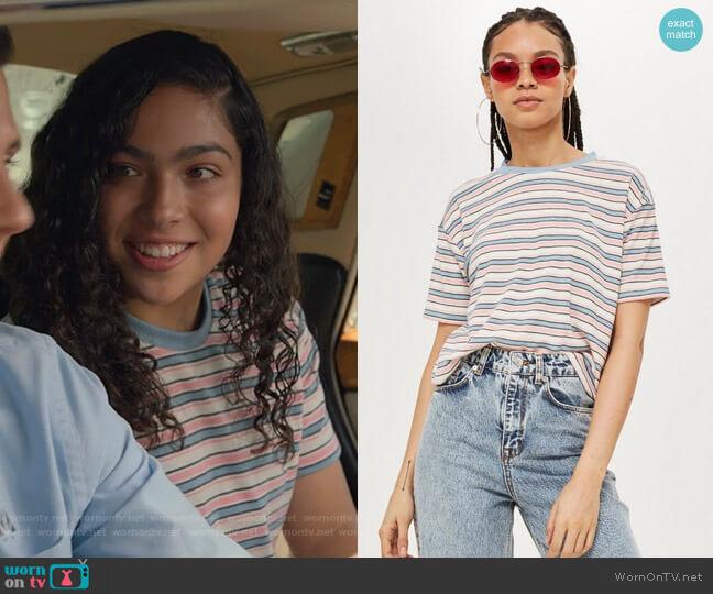 Multi Stripe Boxy T-Shirt by Topshop worn by Allegra Acosta on Marvels Runaways