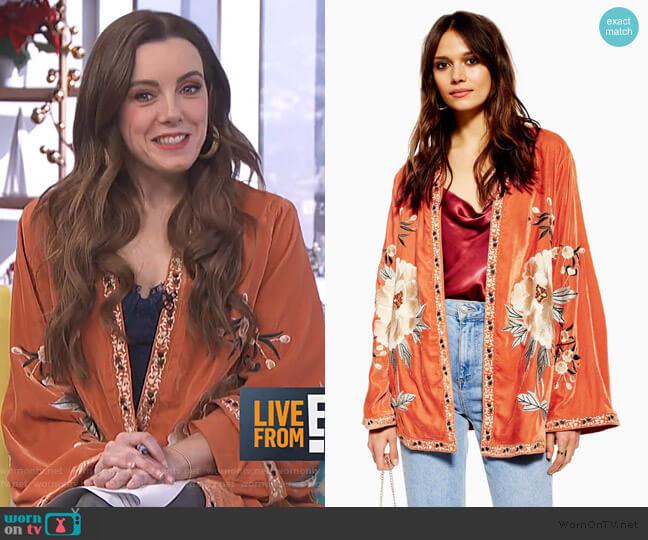 Velvet Embroidered Kimono by Topshop worn by Melanie Bromley  on E! News