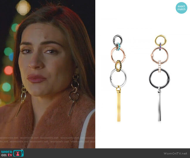 Hold Earrings in Gold Vermeil and Dark Silver with Rings by Tous worn by Cristal Jennings (Daniella Alonso) on Dynasty