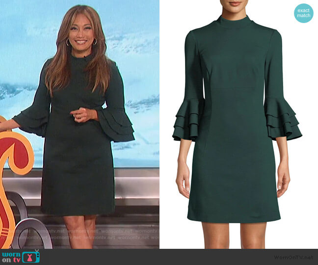 Dylan Tiered Bell Sleeve Shift Dress by Trina Turk worn by Carrie Inaba  on The Talk