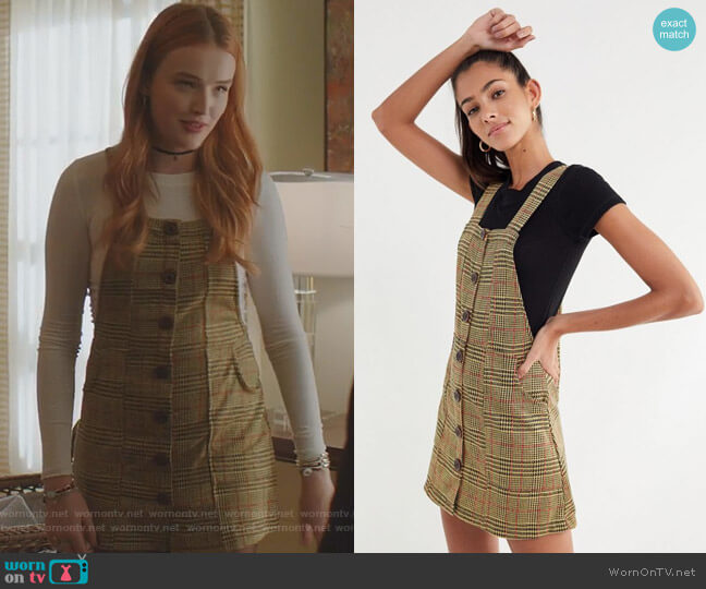 Joey Plaid Button-Down Skirtall Overall by Urban Outfitters worn by Maddison Brown on Dynasty