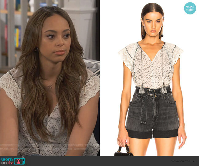 Rena Top by Ulla Johnson worn by Claire (Amber Stevens West) on Happy Together