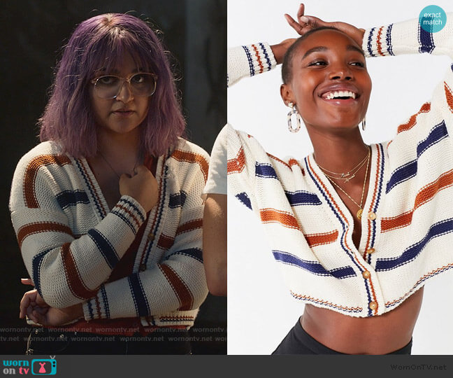 Aiden Striped Button-Down Cardigan by Urban Outfitters worn by Gert Yorkes (Ariela Barer) on Marvels Runaways