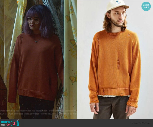Distressed Sweater by Urban Outfitters worn by Gert Yorkes (Ariela Barer) on Marvels Runaways