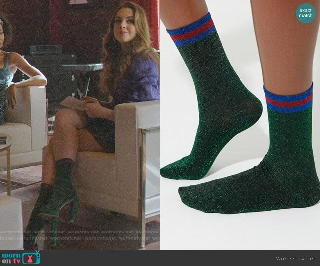 Out From Under Sparkle Party Sock by Urban Outfitters worn by Fallon Carrington (Elizabeth Gillies) on Dynasty