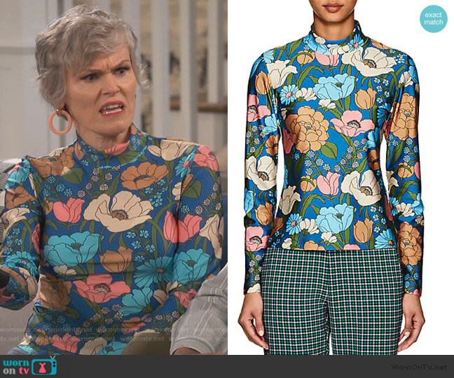 Homer Floral Mock Neck Top by Vivetta worn by Bonnie (Stephnie Weir) on Happy Together