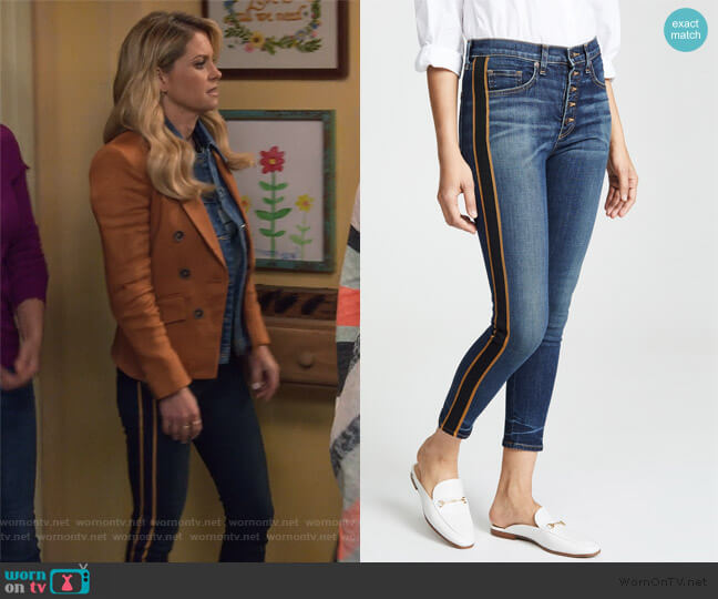 Debbie 10 Skinny Jeans with Tuxedo Stripe by Veronica Beard worn by DJ Tanner-Fuller (Candace Cameron Bure) on Fuller House