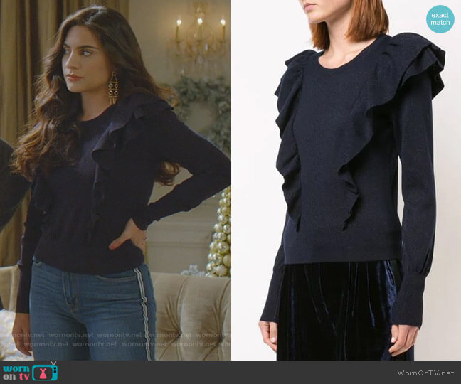 Ruffle Detail Sweater by Veronica Beard worn by Cristal Jennings (Daniella Alonso) on Dynasty