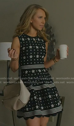 Veronica's black star print dress on Dirty John